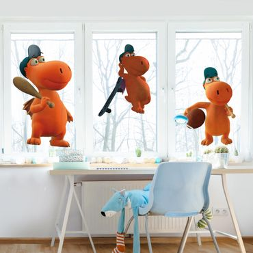 Fensterfolie Fenstersticker - Kleiner Drache Kokosnuss - Sport