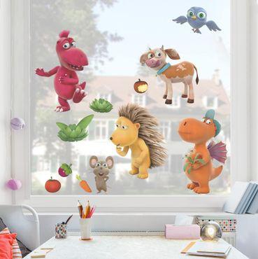 Fensterfolie Fenstersticker - Kleiner Drache Kokosnuss - Tiere