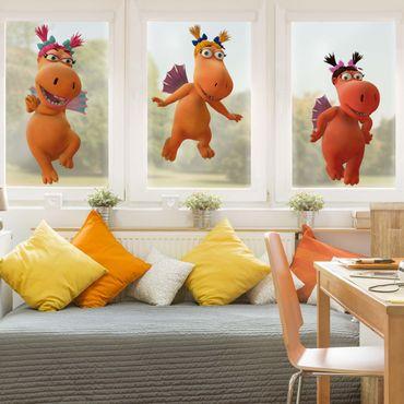 Fensterfolie Fenstersticker - Kleiner Drache Kokosnuss - Obstschwestern