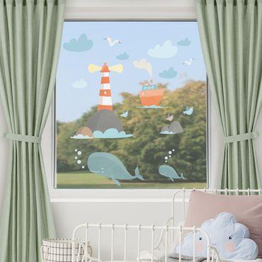 Fensterfolie Fenstersticker - Leuchtturm und Wale