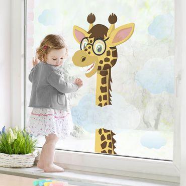 Fensterfolie - Fenstersticker Lustige Giraffe - Fensterbilder