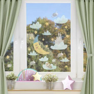 Fensterfolie Fenstersticker - Mond und Sterne