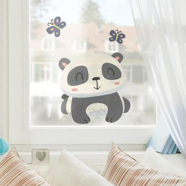 Fensterfolie Fenstersticker - Panda mit Schmetterlingen - Fensterbild