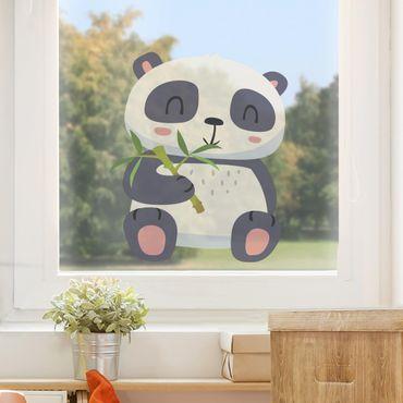 Fensterfolie Fenstersticker - Panda nascht am Bambus - Fensterbild