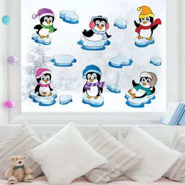 Fensterfolie - Fenstersticker - Pinguin Winter Set