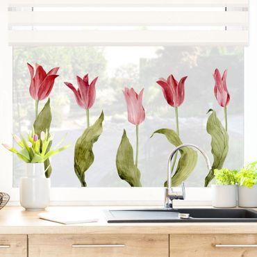 Fensterfolie Fenstersticker - Rote Aquarell Tulpen
