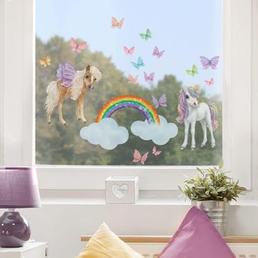 Fensterfolie Fenstersticker Kinderzimmer - Animal Club International - Set Einhorn und Schmetterlinge