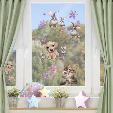 Fensterfolie Fenstersticker Kinderzimmer - Animal Club International - Set Haustiere