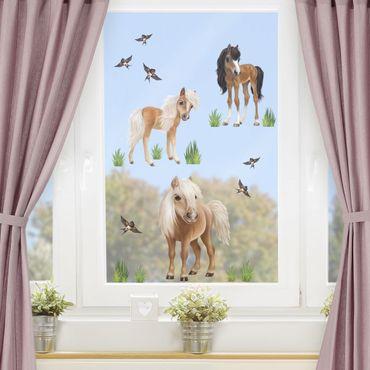 Fensterfolie Fenstersticker Kinderzimmer - Animal Club International - Set Pferde