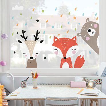 Fensterfolie Fenstersticker - Süße Waldtiere