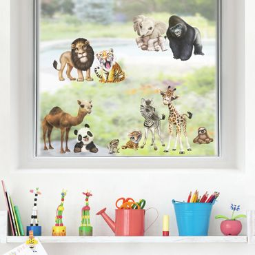 Fensterfolie Fenstersticker Kinderzimmer - Animal Club International - Tiere in Afrika