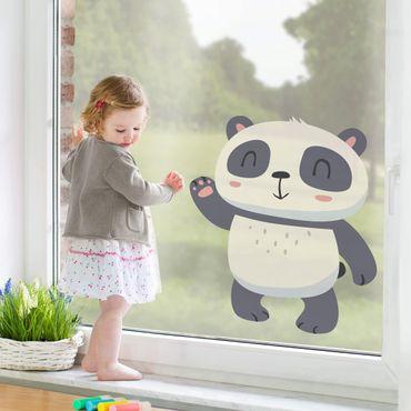 Fensterfolie Fenstersticker - Winkender Panda - Fensterbild