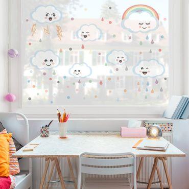 Fensterfolie - Fenstersticker - Wolken mit Gesicht Set