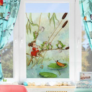 Fensterfolie Sichtschutz - Erdbeerinchen Erdbeerfee - Froschkonzert - Fensterbild