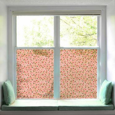 Fensterfolie Sichtschutz - Erdbeerinchen Erdbeerfee - Erdbeerblüten - Fensterbild