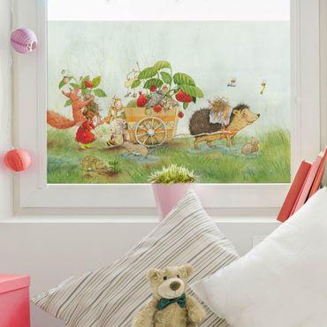 Fensterfolie Sichtschutz - Erdbeerinchen Erdbeerfee - Mit Igel - Fensterbild