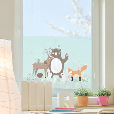 Fensterfolie - Sichtschutz Fenster Forest Friends mit Waldtieren blau - Blumen Fensterbilder