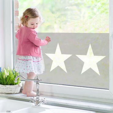 Fensterfolie - Sichtschutz Fenster - Große weiße Sterne auf grau - Fensterbilder Grau