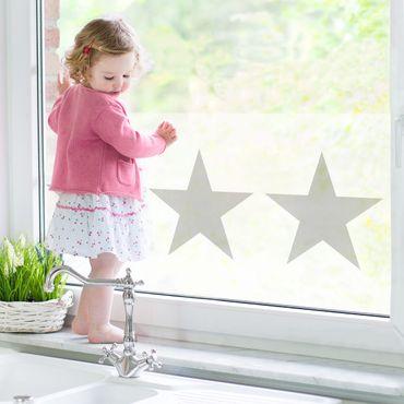 Fensterfolie - Sichtschutz Fenster - No.YK43 Große Graue Sterne auf Weiß - Fensterbilder Grau