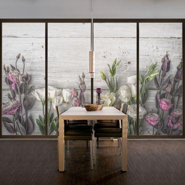 Fensterfolie - Sichtschutz Fenster Tulpen-Rose Shabby Holzoptik - Blumen Fensterbilder