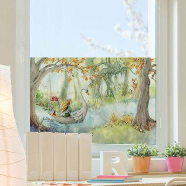Fensterfolie Sichtschutz - Lilia - Im Schwanenboot - Fensterbild