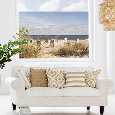Fensterfolie Sichtschutz - Ostsee und Strandkörbe - Fensterbild
