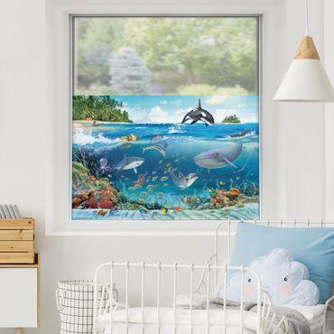 Fensterfolie Sichtschutz - Unterwasserwelt mit Tieren - Fensterbild