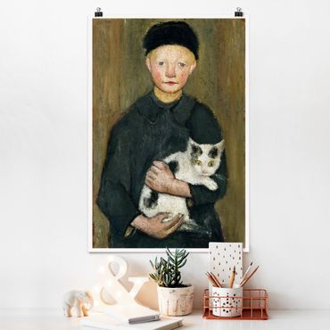 Poster - Paula Modersohn-Becker - Knabe mit Katze - Hochformat 3:2