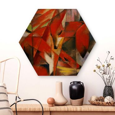 Hexagon Bild Holz - Franz Marc - Füchse