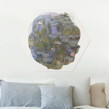 Hexagon Bild Forex - Wasserfarben - Claude Monet - Seerosen (Nympheas)