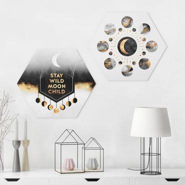 Hexagon Bild Forex 2-teilig - Elisabeth Fredriksson - Stay Wild Moon Child Mondpasen