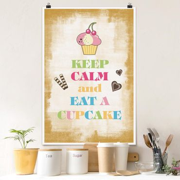 Poster - No.EV71 Keep Calm And Eat A Cupcake Bunt - Hochformat 3:2