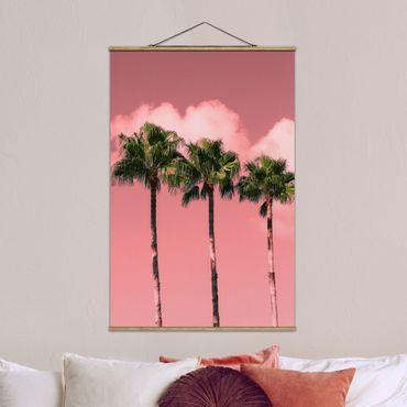 Stoffbild mit Posterleisten - Palmen vor Himmel Rosa - Hochformat 3:2