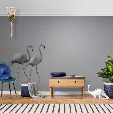 Metallic Tapete  - Flamingo Love Schwarz-Weiß