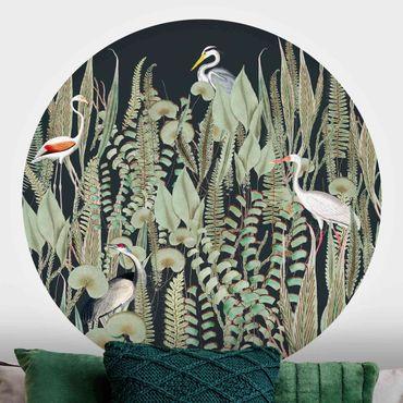 Runde Tapete selbstklebend - Flamingo und Storch mit Pflanzen auf Grün