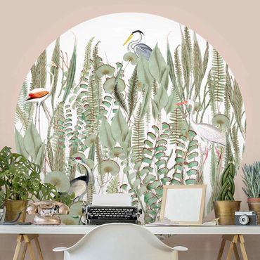 Runde Tapete selbstklebend - Flamingo und Storch mit Pflanzen