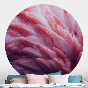 Runde Tapete selbstklebend - Flamingofedern Close-up