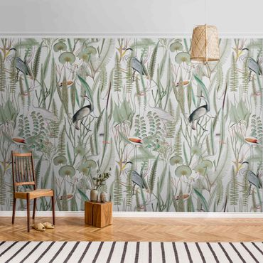 Metallic Tapete  - Flamingos und Störche mit Pflanzen