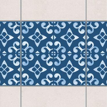 Fliesen Bordüre - Dunkelblau Weiß Muster Serie No.05 - 10cm x 10cm Fliesensticker Set