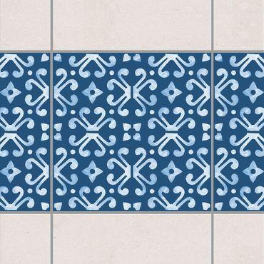 Fliesen Bordüre - Dunkelblau Weiß Muster Serie No.07 - 15cm x 15cm Fliesensticker Set