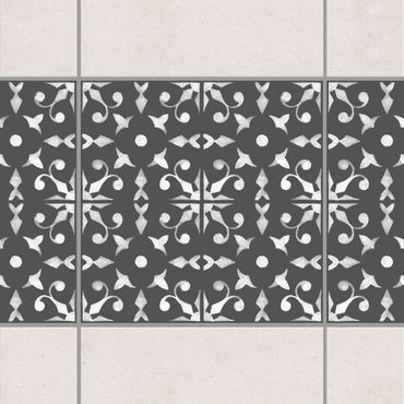 Fliesen Bordüre - Dunkelgrau Weiß Muster Serie No.06 - 15cm x 15cm Fliesensticker Set