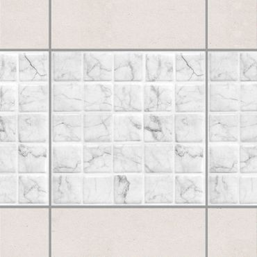 Fliesen Bordüre - Mosaikfliese Mamoroptik Bianco Carrara 10x10 cm - Fliesensticker Set