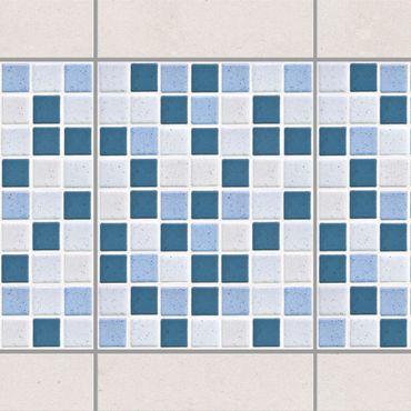 Fliesen Bordüre - Mosaikfliesen Blau Grau 15x20 - Fliesensticker Set