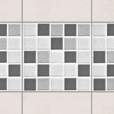 Fliesen Bordüre - Mosaikfliesen Grau 10x10 cm - Fliesensticker Set
