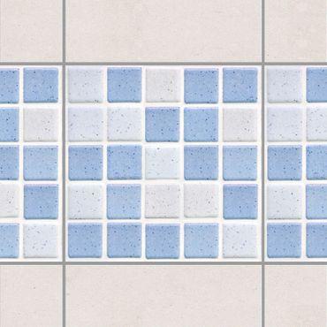 Fliesen Bordüre - Mosaikfliesen Hellblau 10x10 cm - Fliesensticker Set