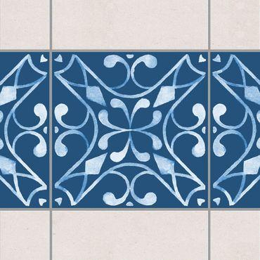 Fliesen Bordüre - Muster Dunkelblau Weiß Serie No.3 - 10cm x 10cm Fliesensticker Set