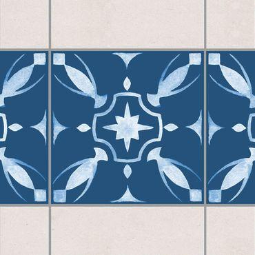 Fliesen Bordüre - Muster Dunkelblau Weiß Serie No.1 - 15cm x 15cm Fliesensticker Set