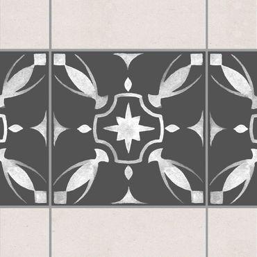 Fliesen Bordüre - Muster Dunkelgrau Weiß Serie No.01 - 15cm x 15cm Fliesensticker Set