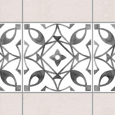 Fliesen Bordüre - Muster Grau Weiß Serie No.8 - 15cm x 15cm Fliesensticker Set