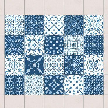 Fliesenaufkleber - Farbmix Muster Blau Weiß